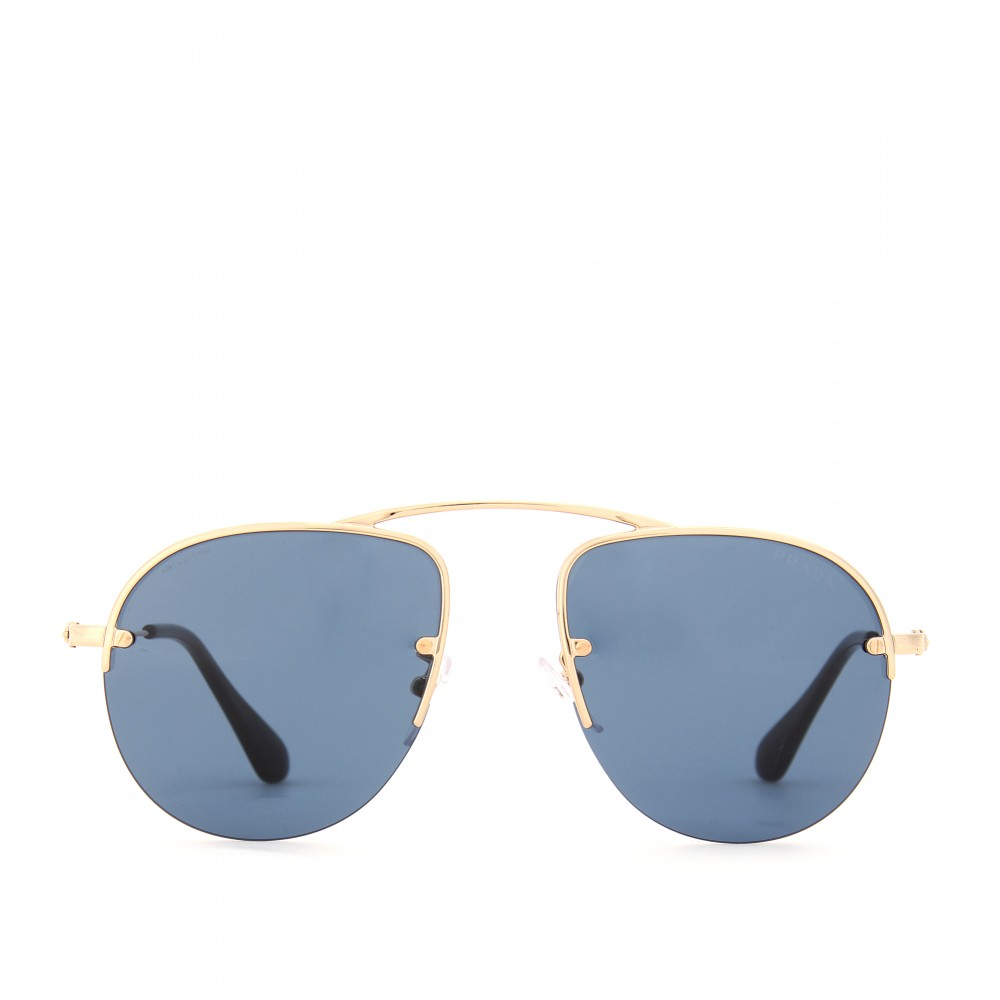 32fc866580b italy prada sunglasses orange and black frame blue lens 2c54b b3b36  canada lyst  prada teddy aviatorstyle sunglasses in blue a83ab f876d