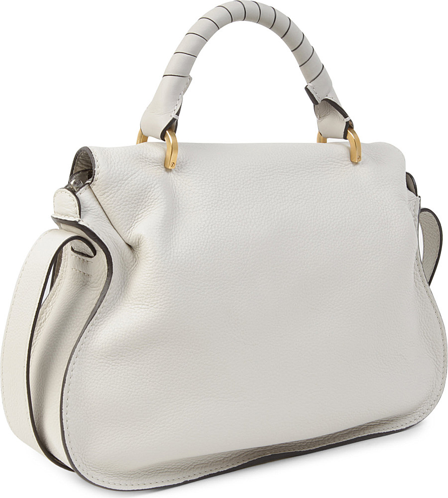 Chlo¨¦ Marcie Leather Satchel Bag in Gray (Dove) | Lyst