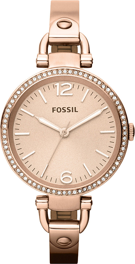fossil es3226 georgia rose gold toned bracelet watch in metallic lyst. Black Bedroom Furniture Sets. Home Design Ideas
