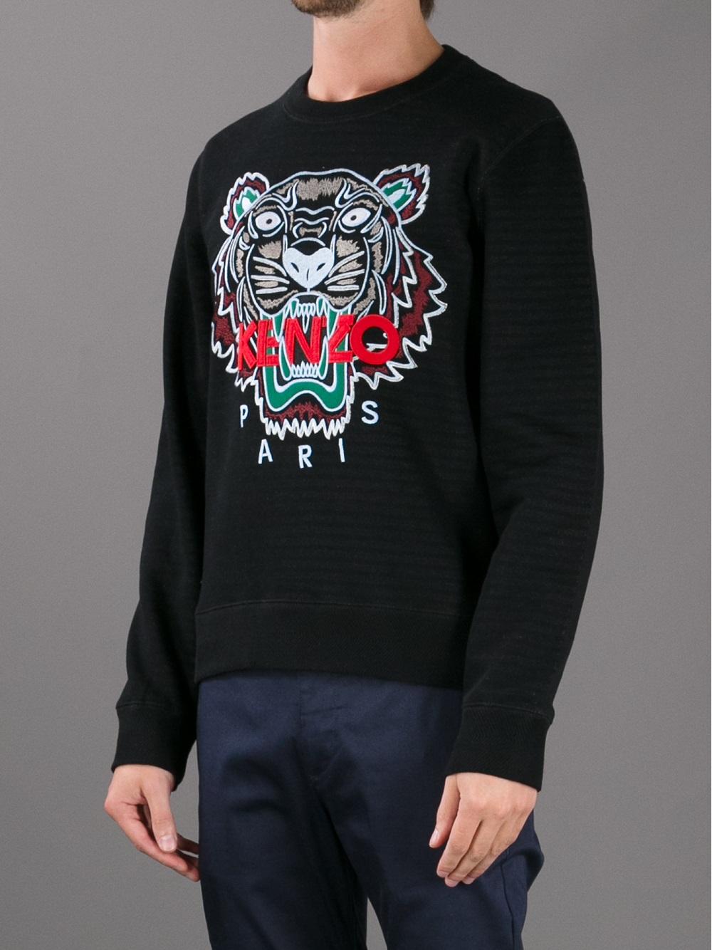 kenzo slogan tiger print sweatshirt in black for men lyst. Black Bedroom Furniture Sets. Home Design Ideas