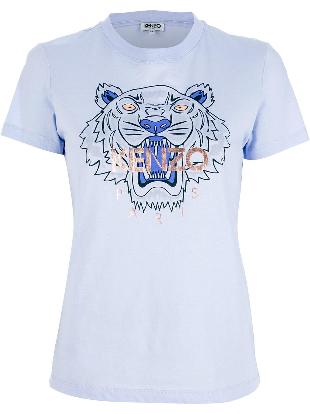 e62b6847 KENZO Tiger Print T-Shirt in Blue - Lyst