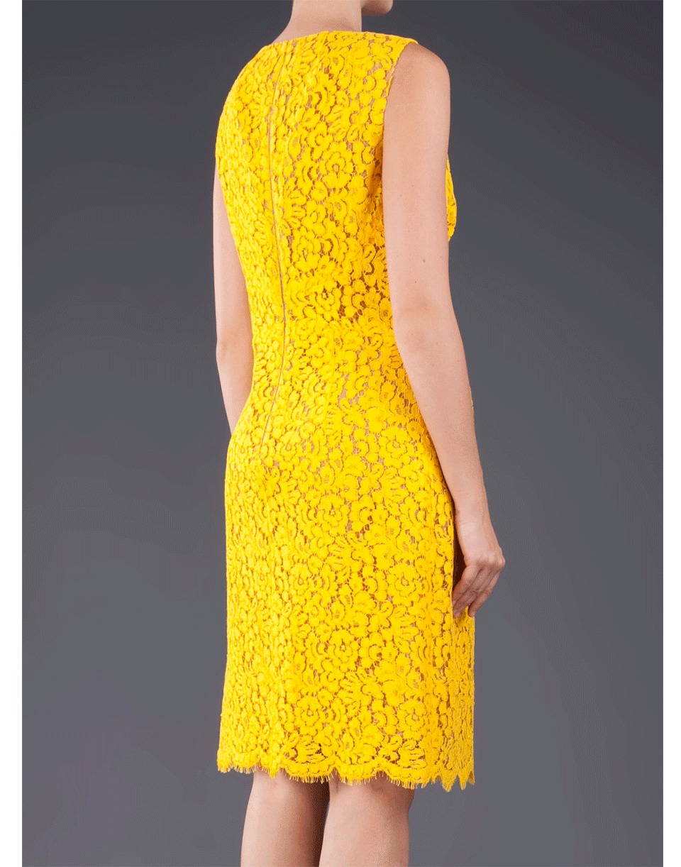 e15184b76133 Lyst - Michael Kors Sleeveless Cotton Floral Lace Dress in Yellow