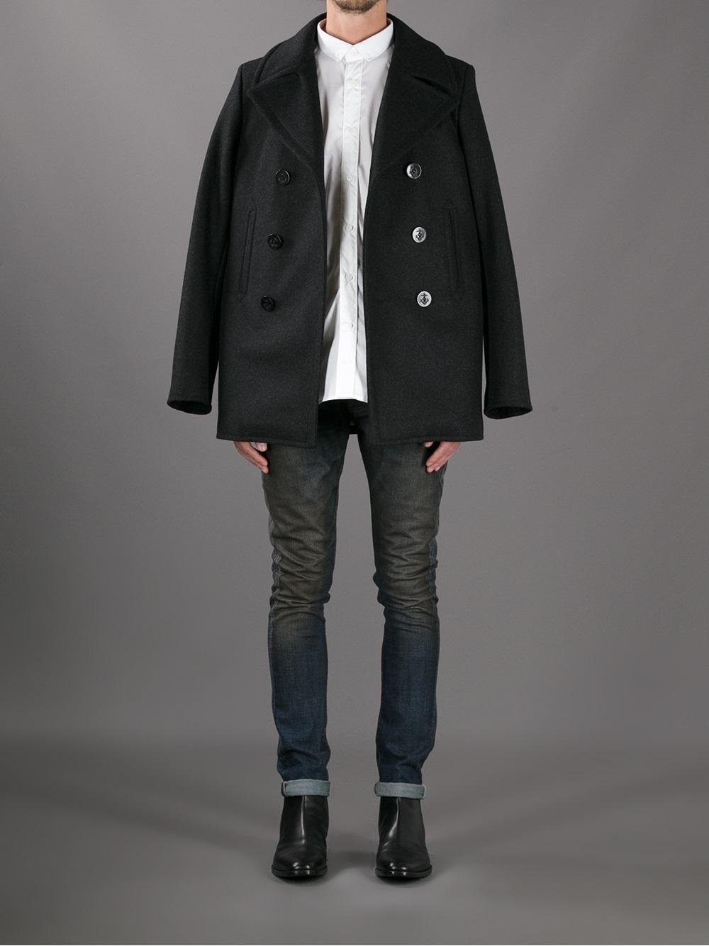 5d836944e09 Saint Laurent Classic Pea Coat in Black for Men - Lyst