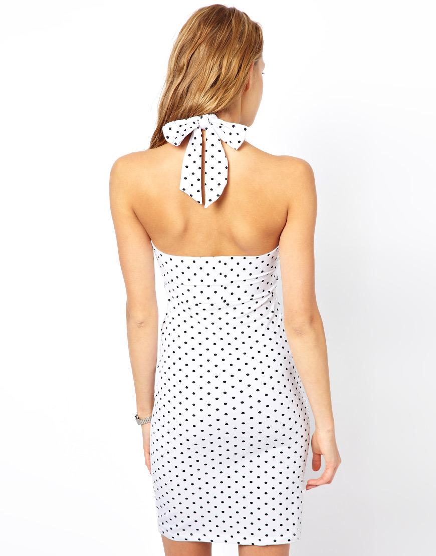 American Apparel Halter Neck Bodycon Dress In Polka Dot In