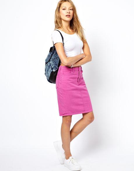 american apparel denim high waist skirt in pink