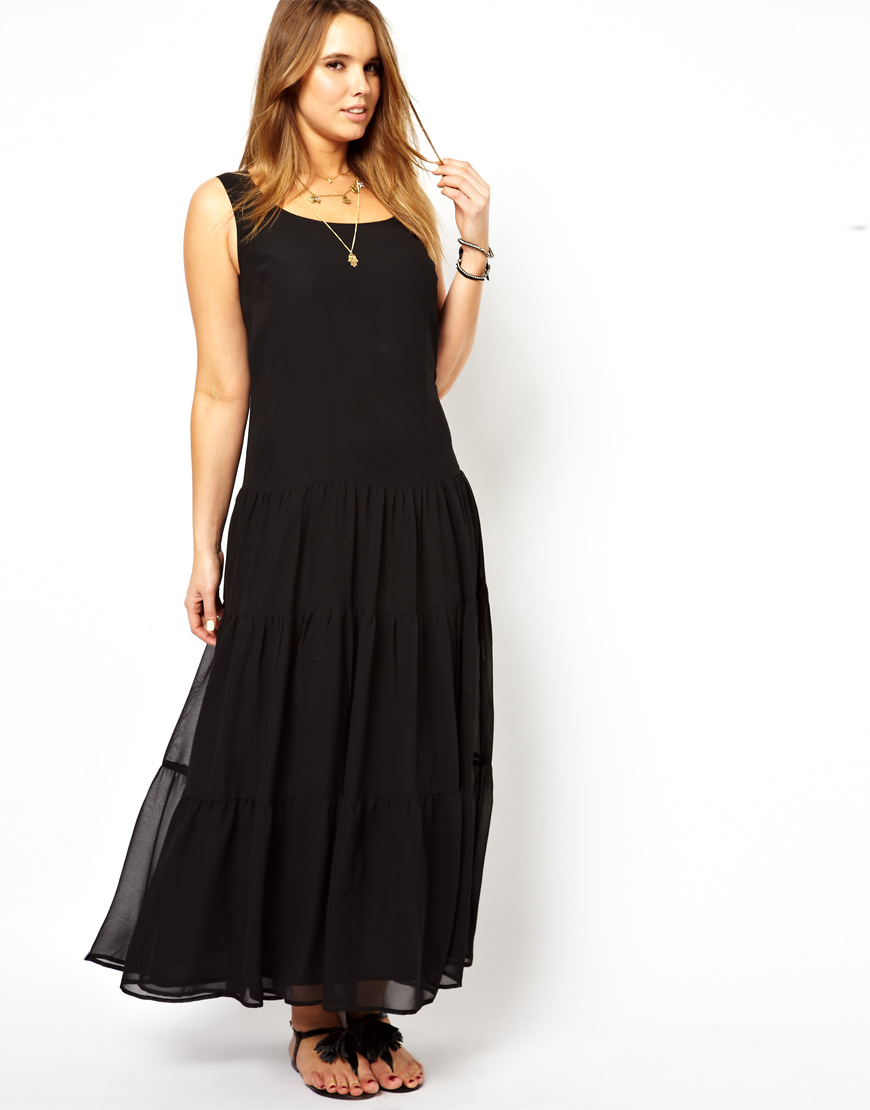 Asos Maxi Dress with Tiers in Black | Lyst