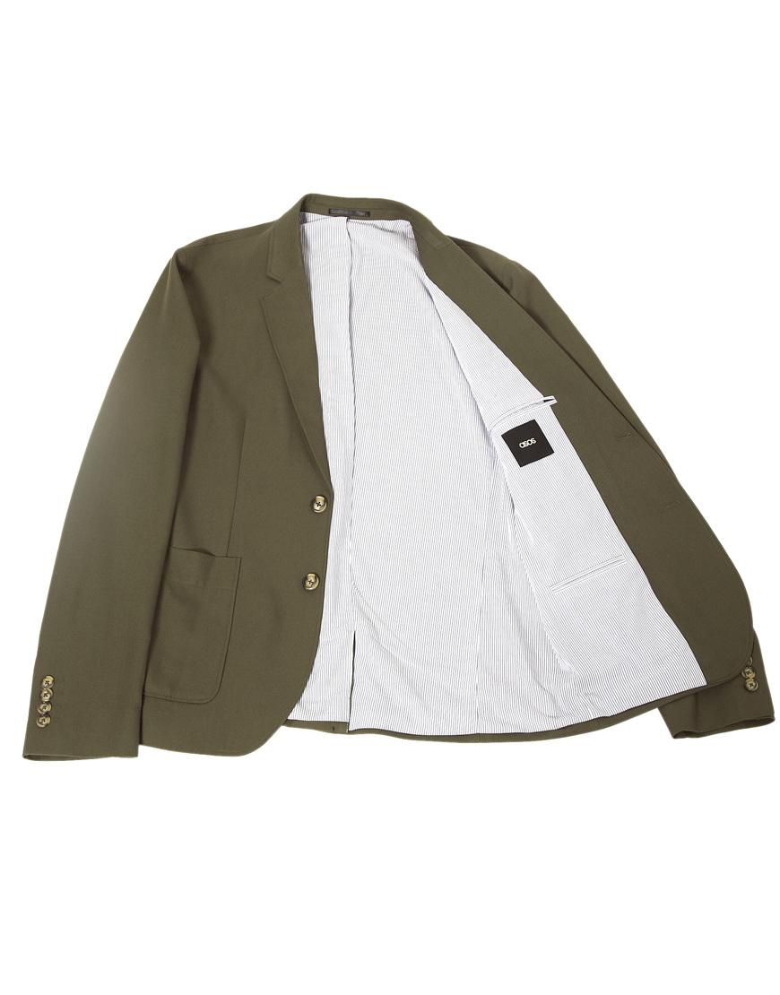 asos slim fit blazer in green for men lyst. Black Bedroom Furniture Sets. Home Design Ideas