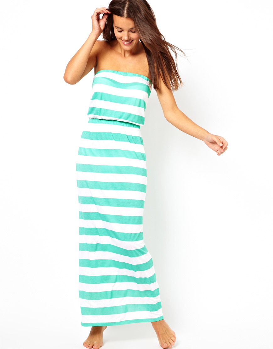 5c658a48f4bc Lyst - ASOS Wide Stripe Bandeau Jersey Maxi Beach Dress in Green