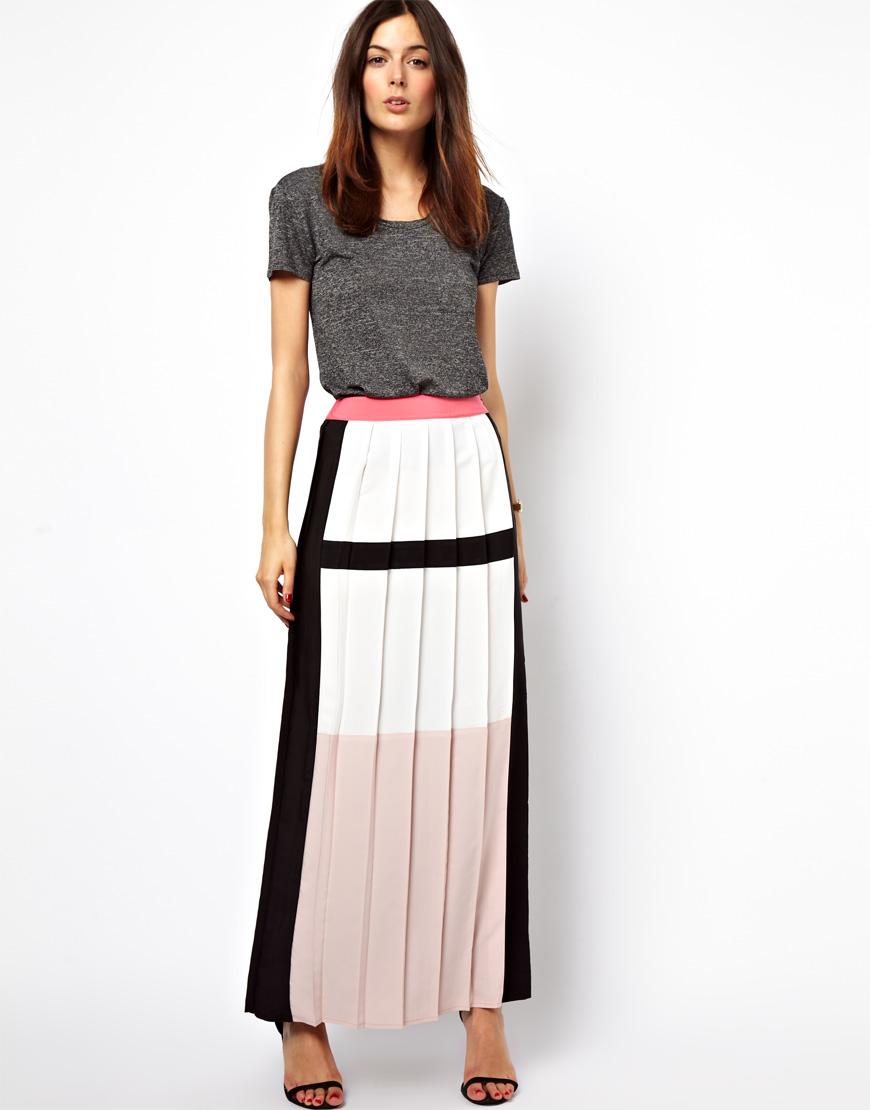 1943175fcb ASOS Pleated Maxi Skirt in Colour Block - Lyst