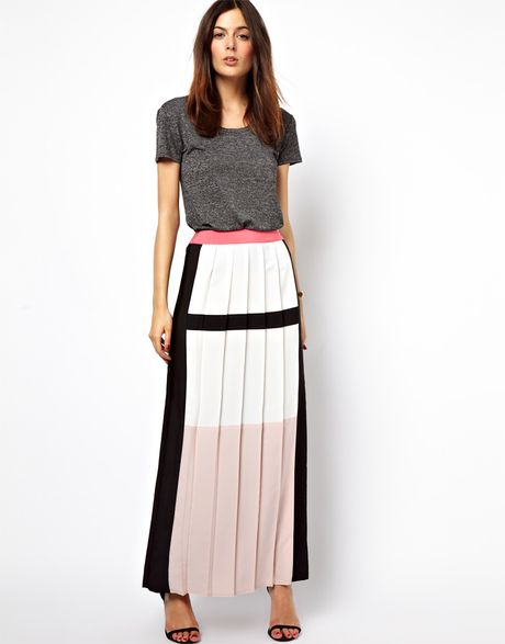 asos pleated maxi skirt in colour block in multicolor
