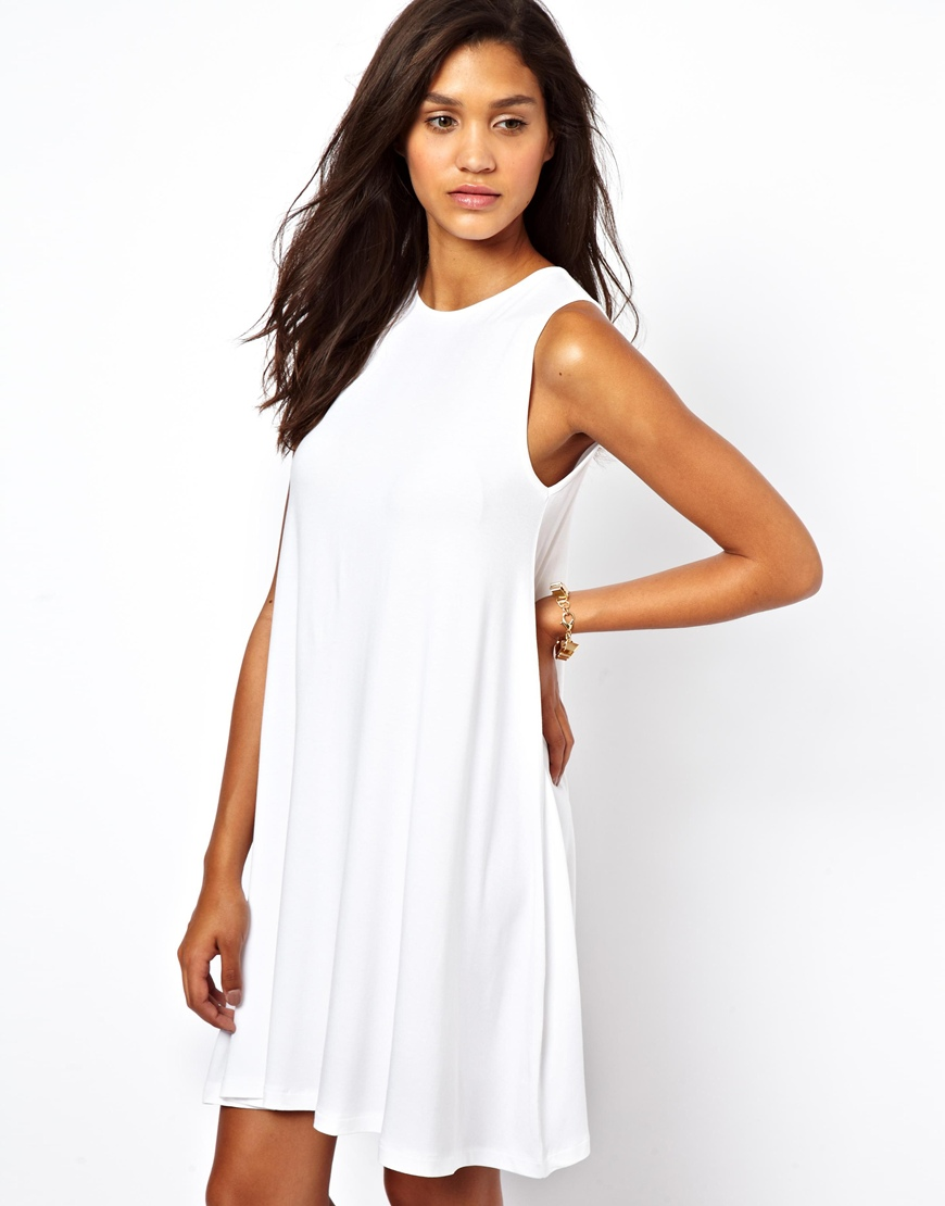 Asos Sleeveless Swing Dress in White | Lyst