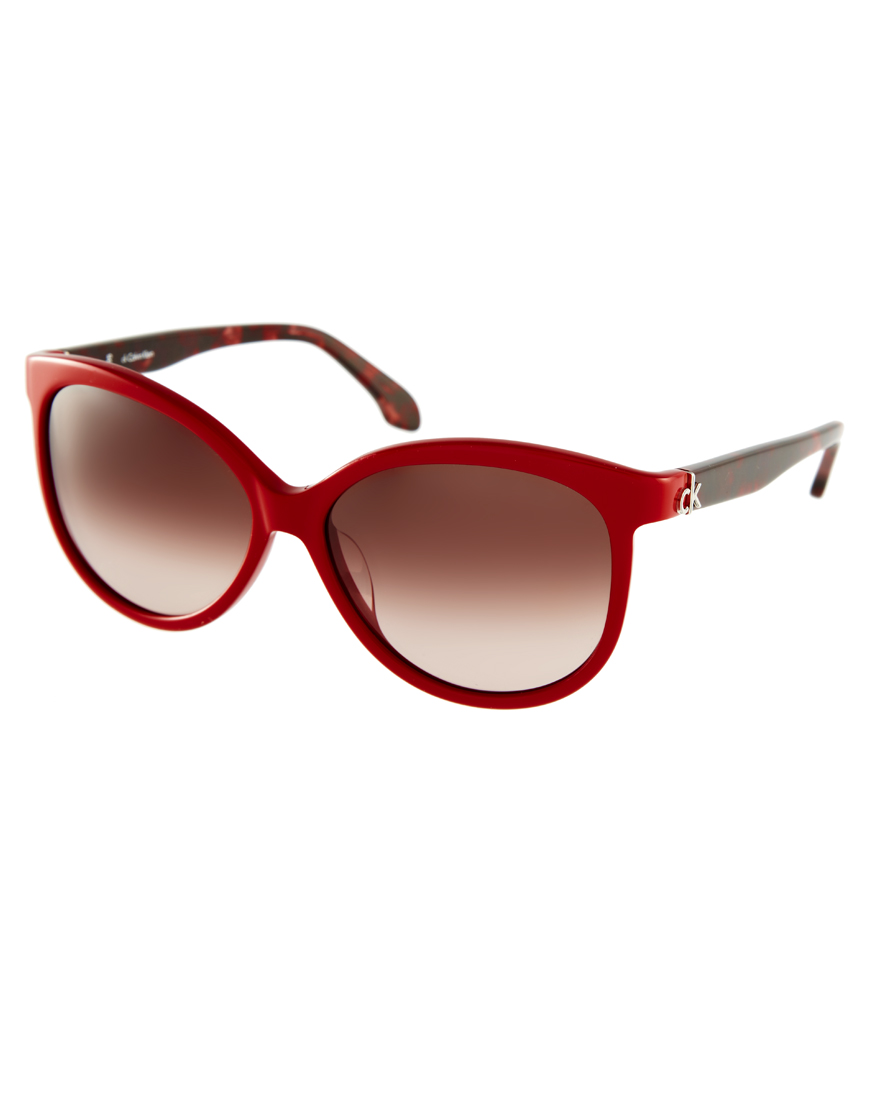 Ck Calvin Klein Two Tone Cat Eye Sunglasses In Red