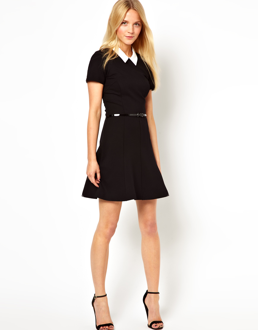 Lyst French Connection Belted Skater Dress With Contrast