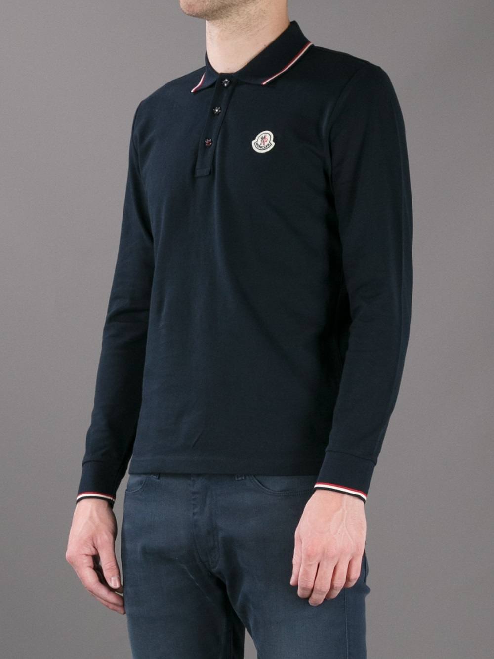 moncler polo navy white collar
