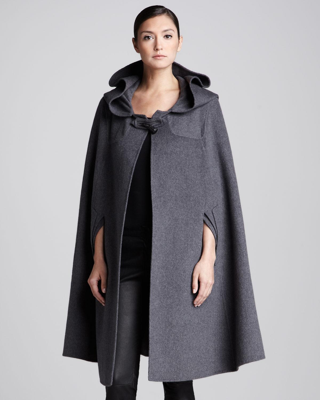 Lyst oscar de la renta long hooded cape anthracite in gray for Small cape