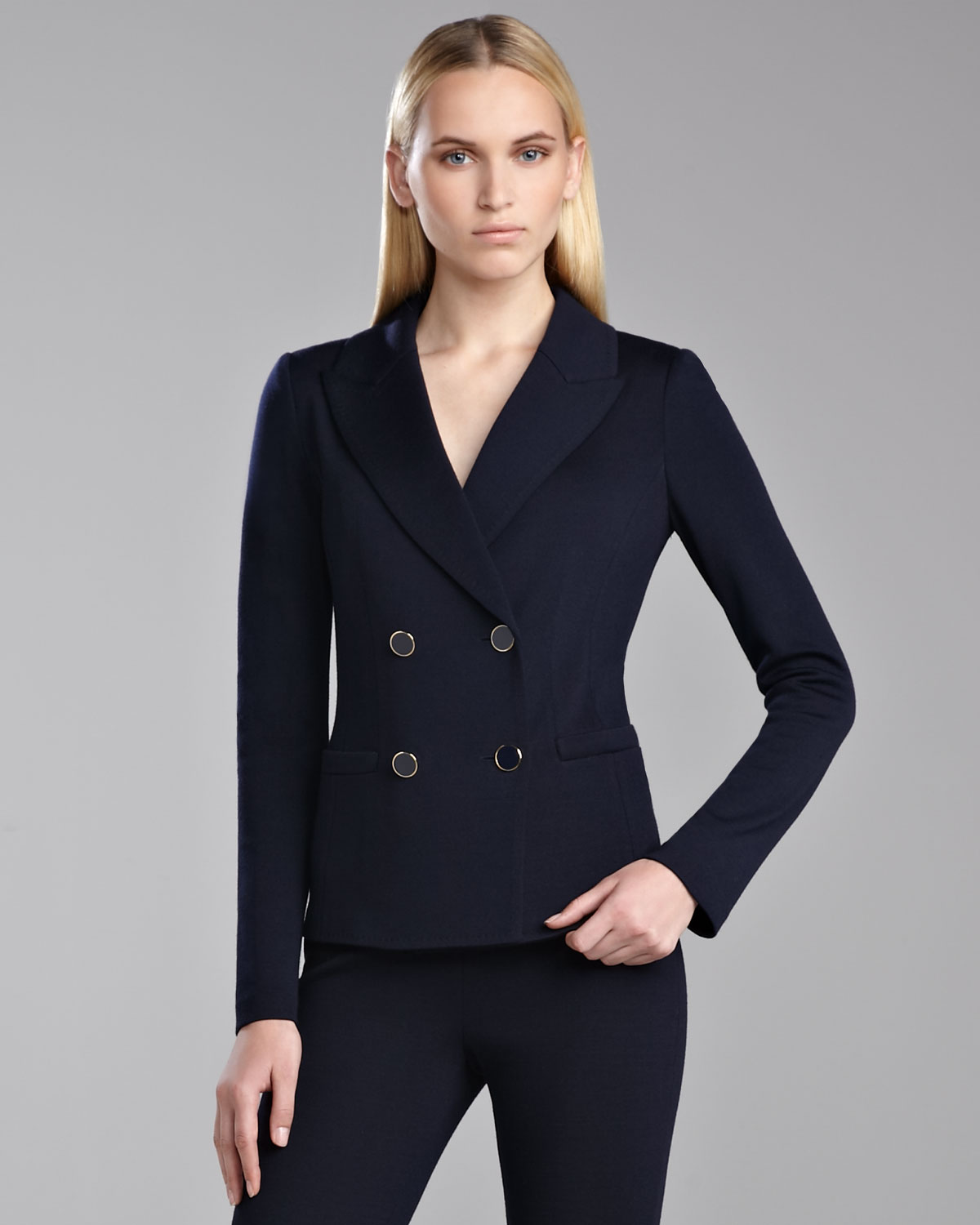 Lyst St John Milano Double Breasted Blazer In Blue