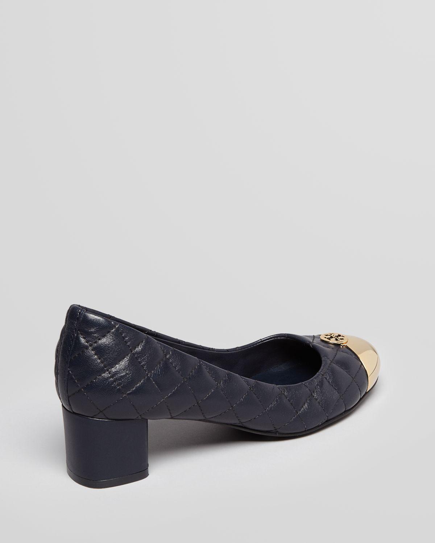 260afc285 Lyst - Tory Burch Cap Toe Pumps Kaitlin Low Heel in Black