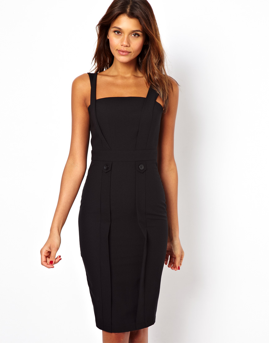 Lyst Asos Sexy Pinafore Pencil Dress In Black