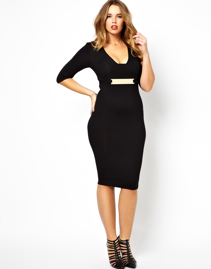 asos exclusive bodycon midi dress with gold belt in black