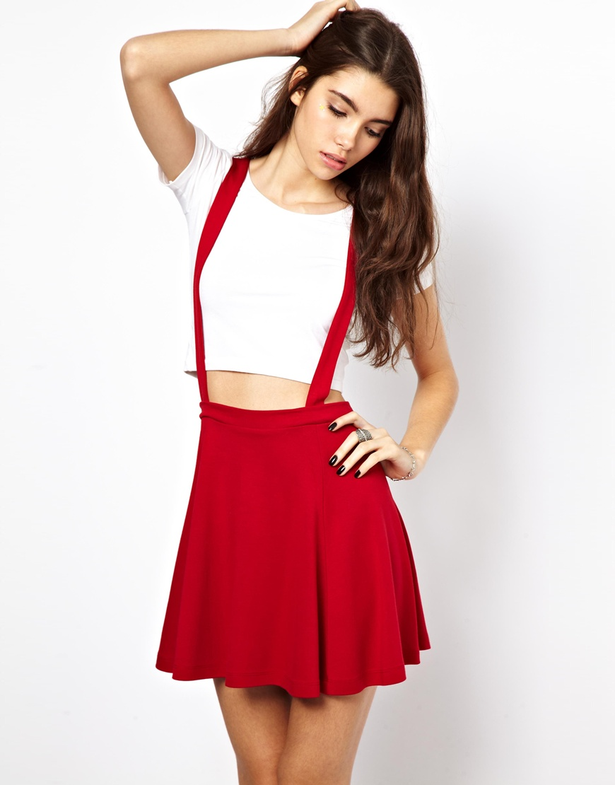 2f89bede41a4 Lyst - ASOS Ponte Skater Skirt with Braces in Red