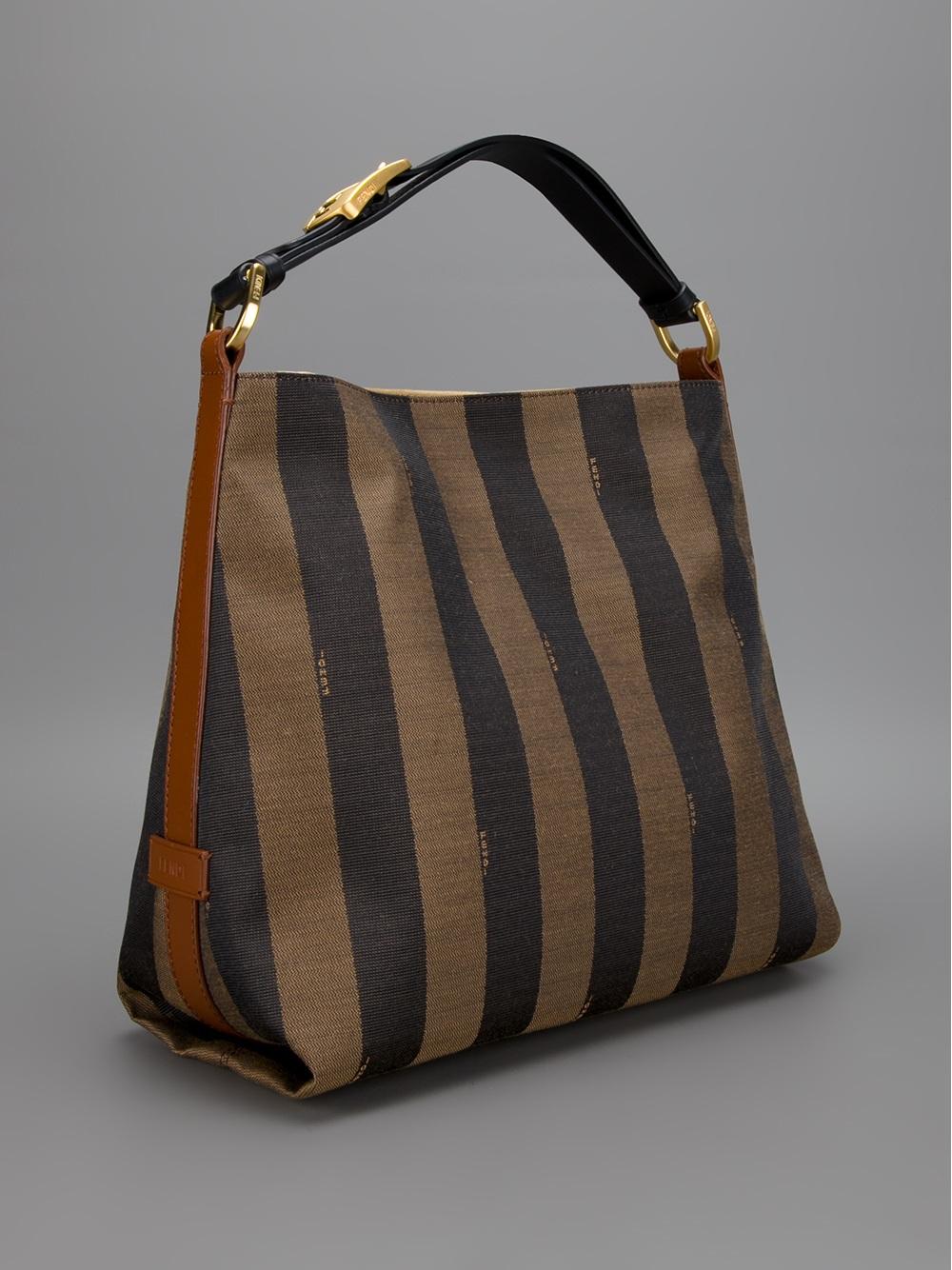italy lyst fendi striped tote in brown 5e101 346d5 60a856cbe3