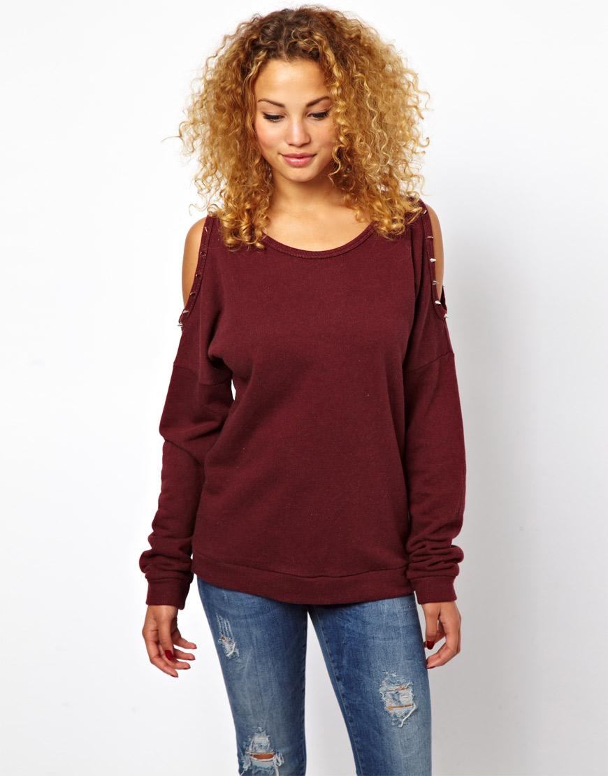Glamorous Studded Cold Shoulder Sweatshirt in Purple ... - photo#13
