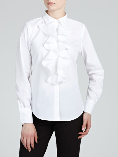 lauren by ralph lauren long sleeve ruffle blouse in white lyst. Black Bedroom Furniture Sets. Home Design Ideas