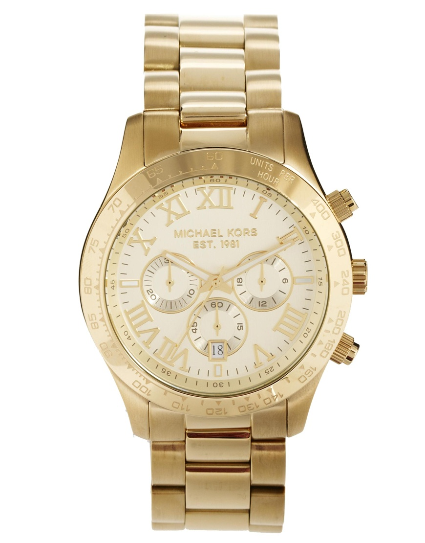 a9abe7c4e204 Lyst - Michael Kors Watch Layton Goldtone Chronograph in Metallic ...