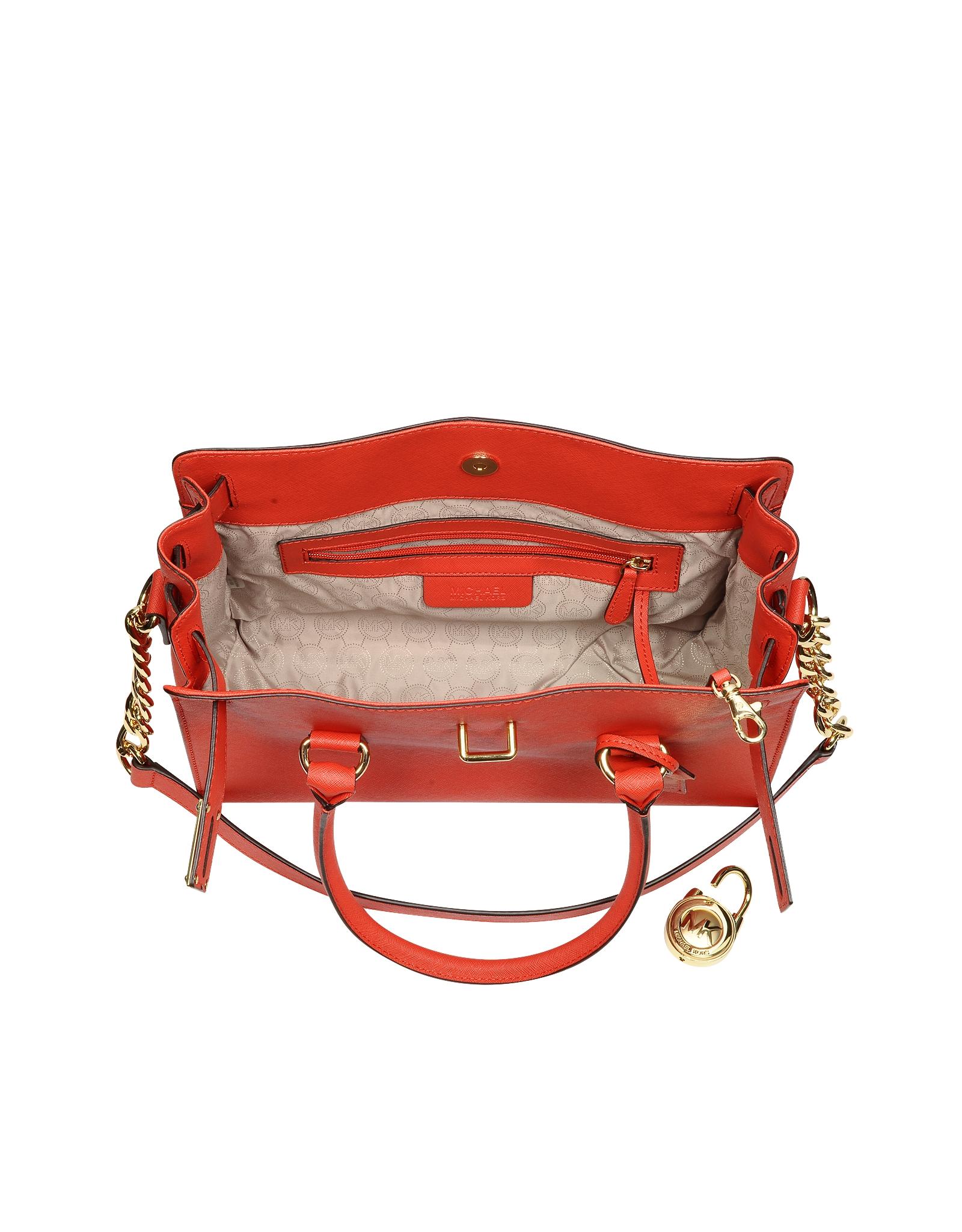 ce4e9496020a Michael Kors Hamilton Saffiano Leather Satchel in Red - Lyst