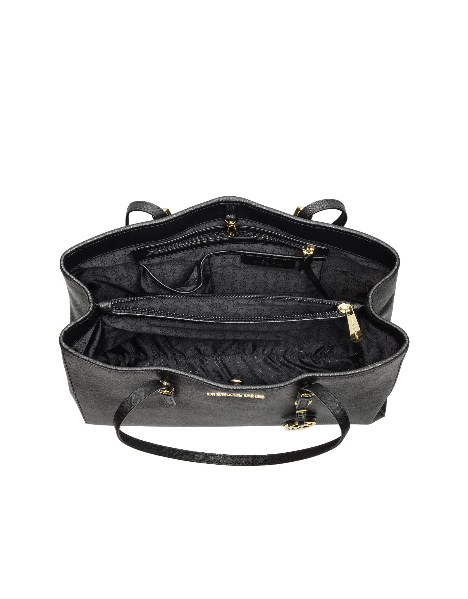 5251f2e7c0 Lyst - Michael Kors Jet Set Travel Saffiano Leather Tote in Black