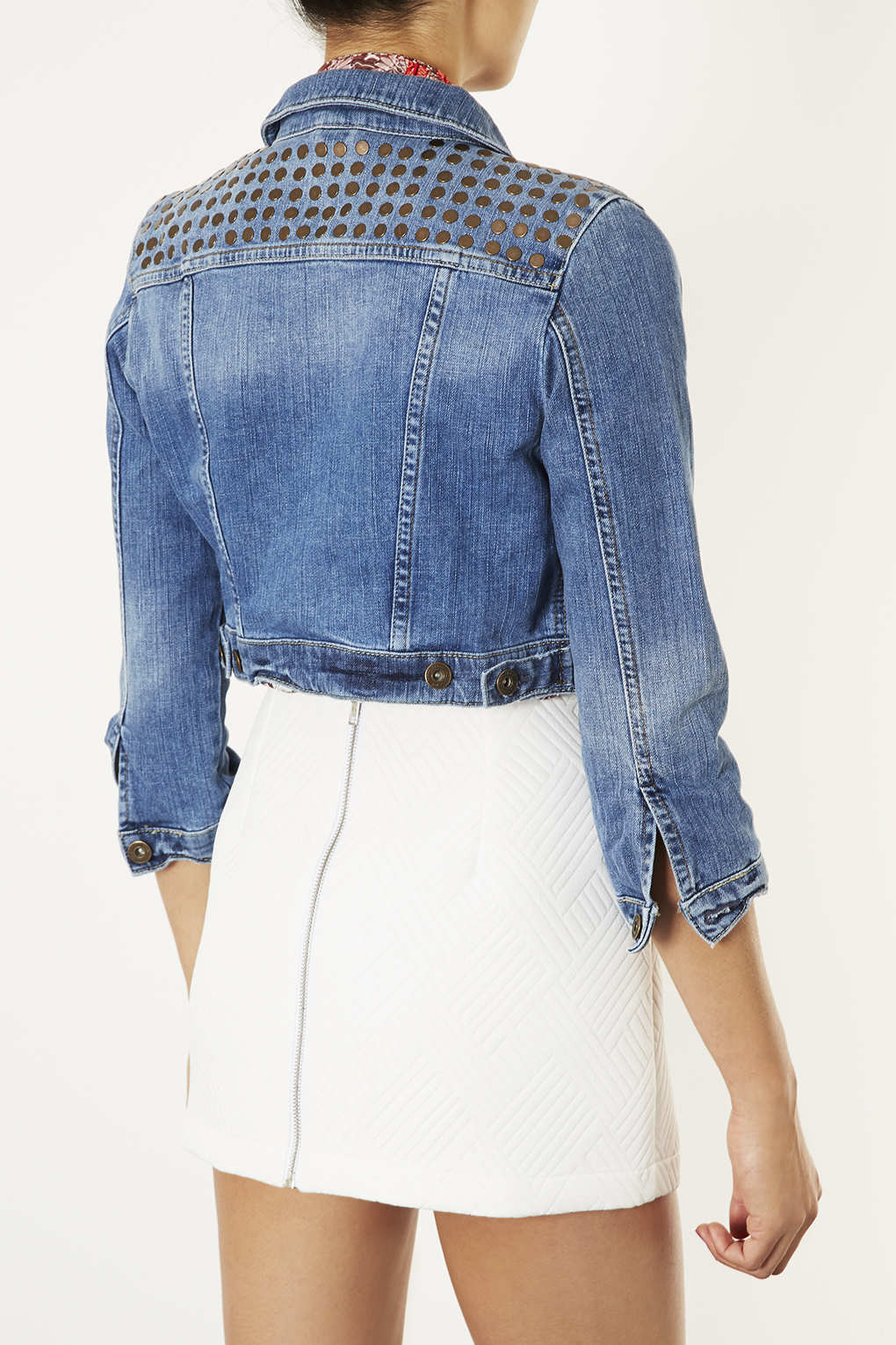 53d5263396 Lyst - TOPSHOP Moto Stud Cropped Denim Jacket in Blue