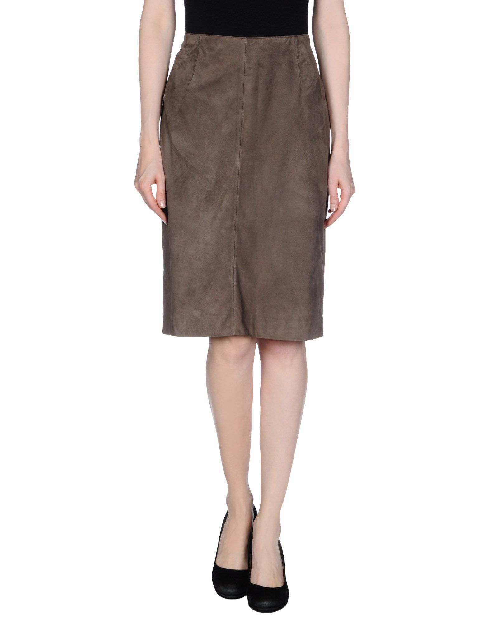 fontana couture leather skirt in brown lyst