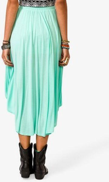 forever 21 shirred high low skirt in green mint lyst