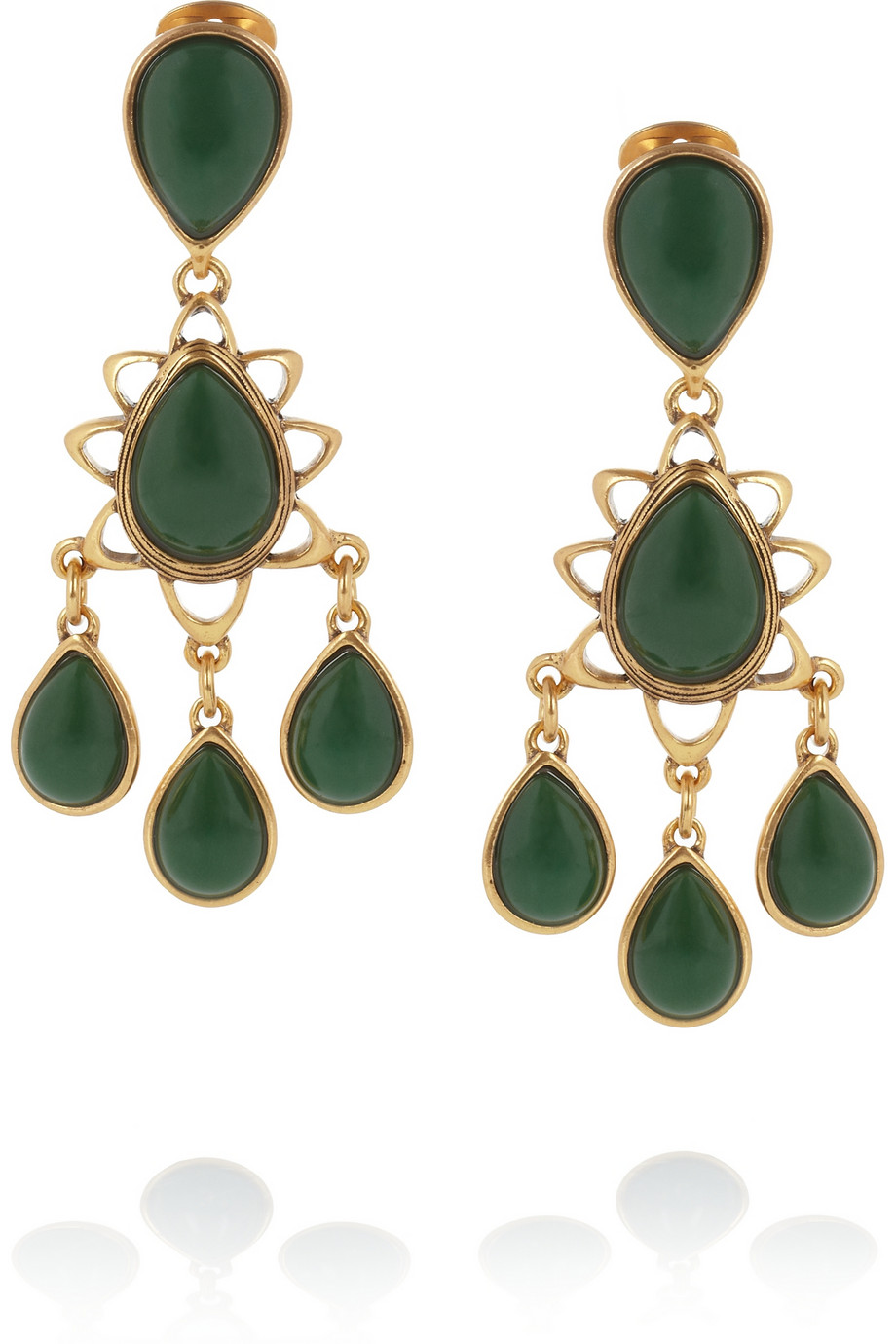 18b847753888 Lyst - Oscar de la Renta Asymmetric Crystal Clip Earrings in Green