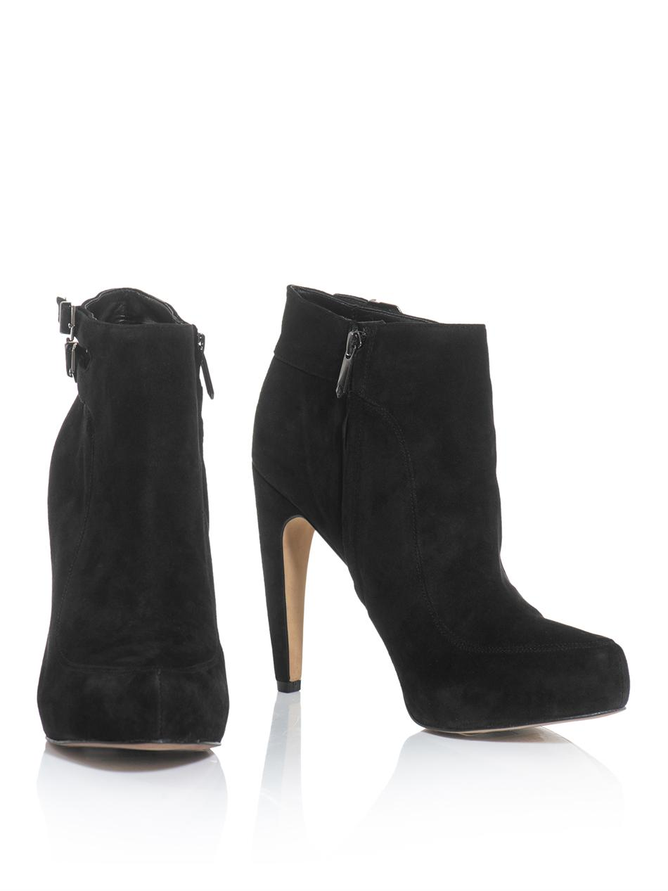 5056e35a3 Sam Edelman Kit Suede Ankle Boots in Black - Lyst
