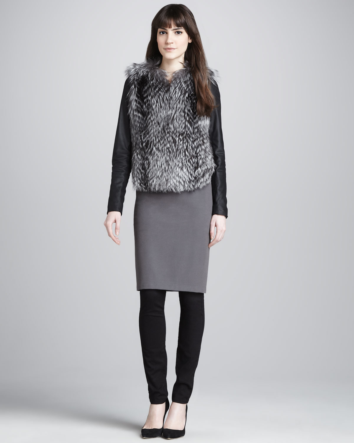 Vince Ribbed Knit Pencil Skirt Charcoal in Gray (CHARCOAL ...