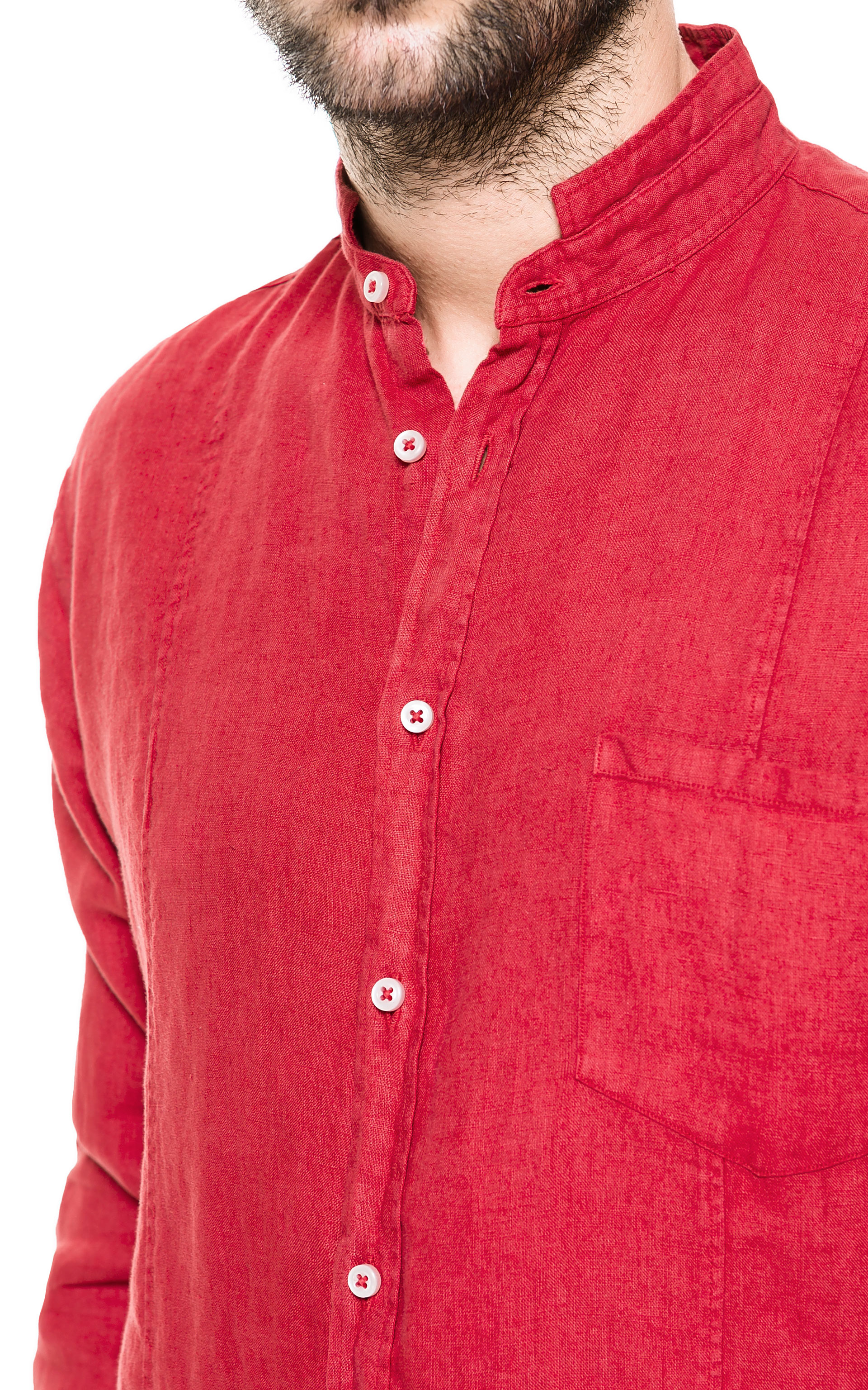 zara linen shirt with mao collar in red for men lyst