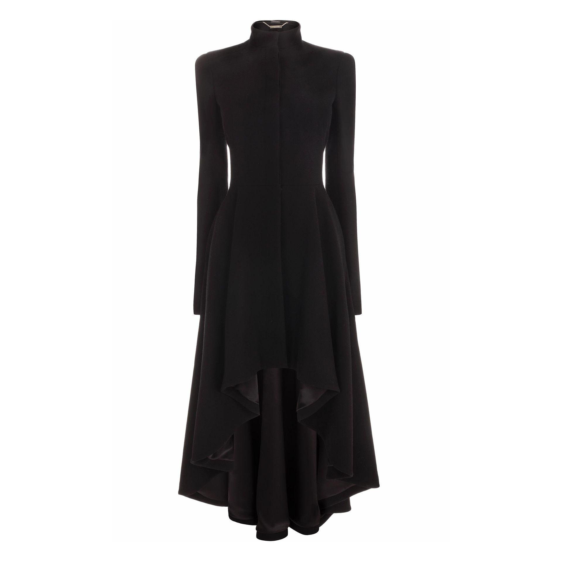 Lyst Alexander Mcqueen Wave Ruffle Dress Coat In Black