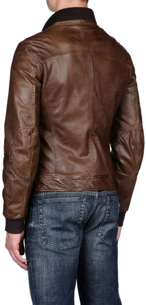 Armani Jeans Leather Jacket in Brown for Men - Lyst
