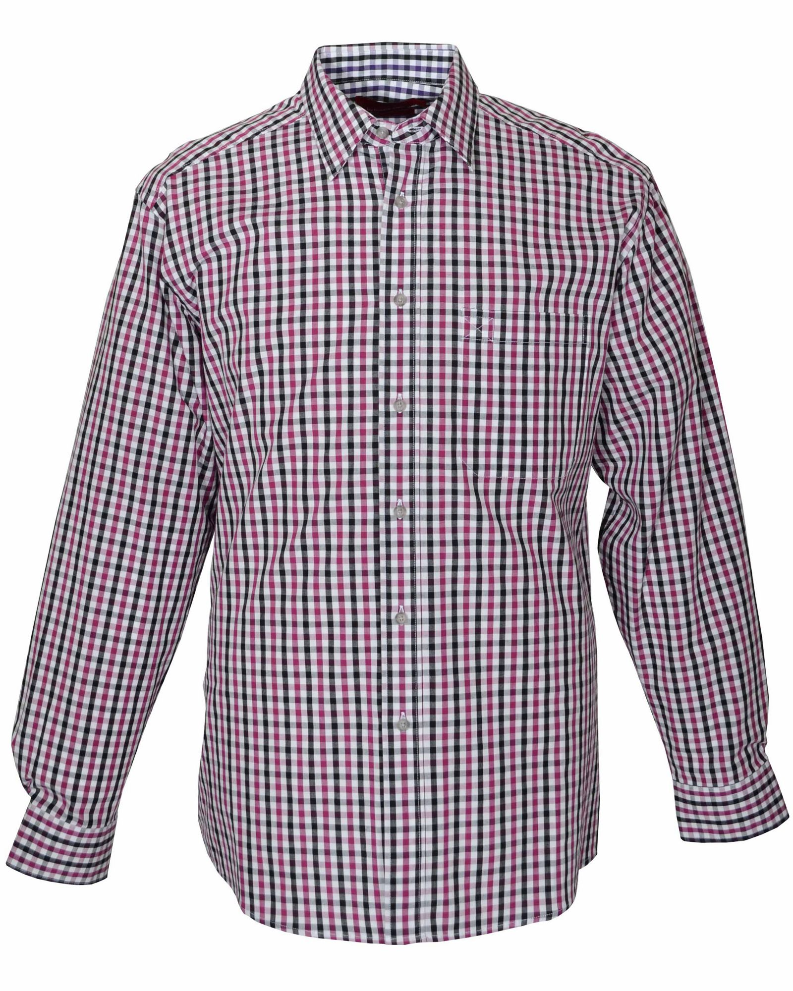 Double Two Cotton Gingham Check Casual Shirt In Pink For