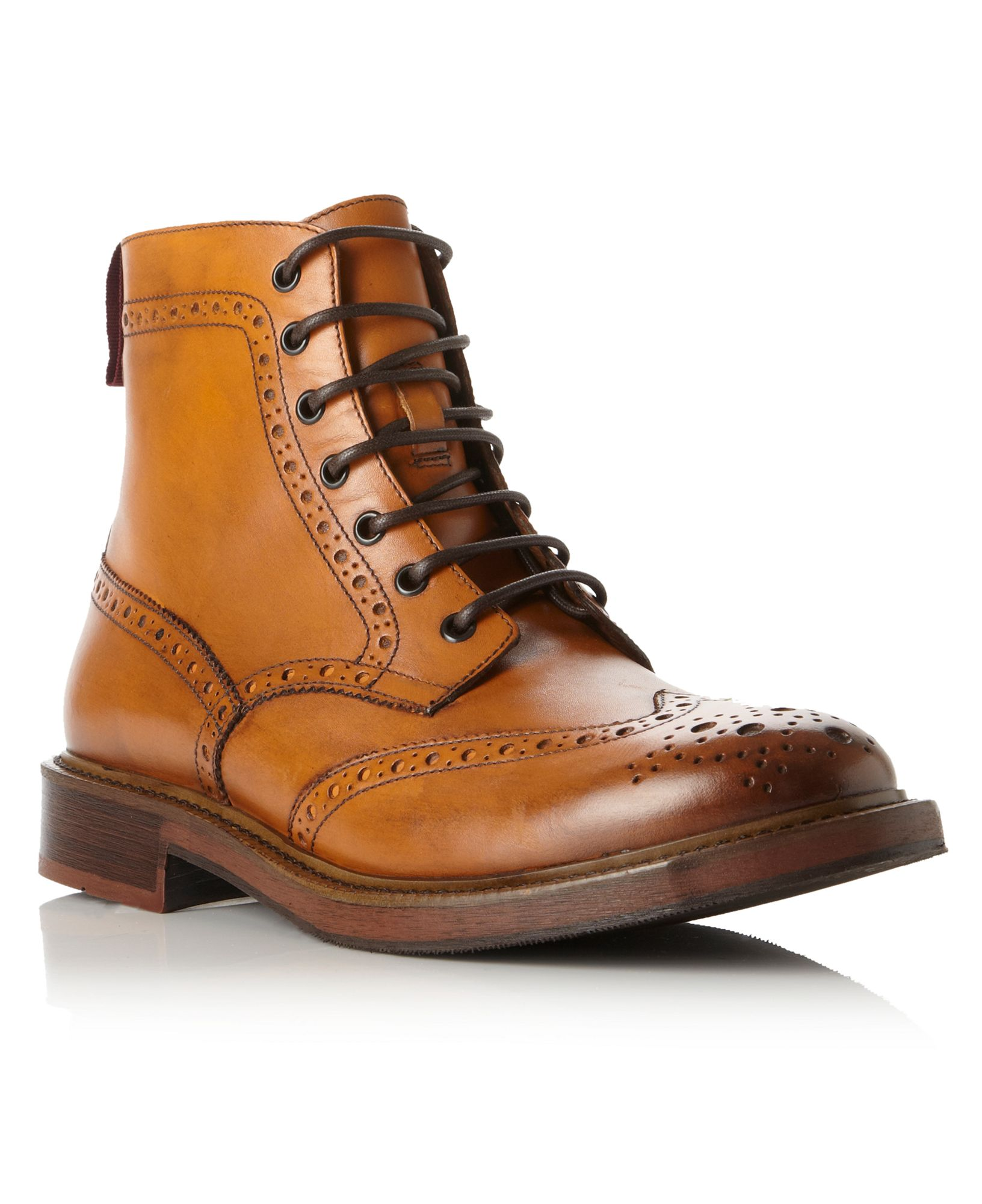 dune canterbury brogue lace up boots in brown for lyst