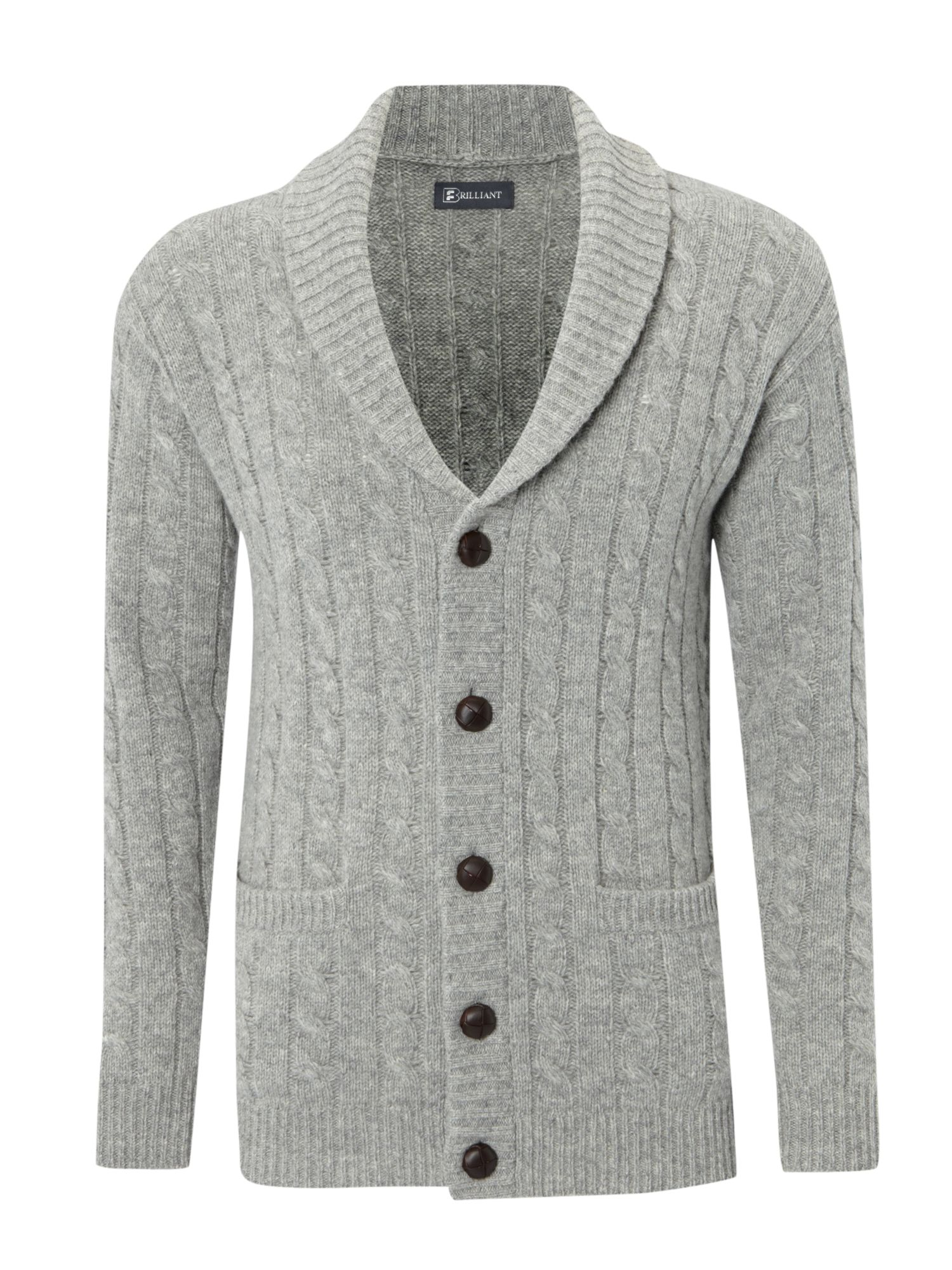 Farrell Shawl Neck Chunky Knit Cardigan in Gray for Men | Lyst