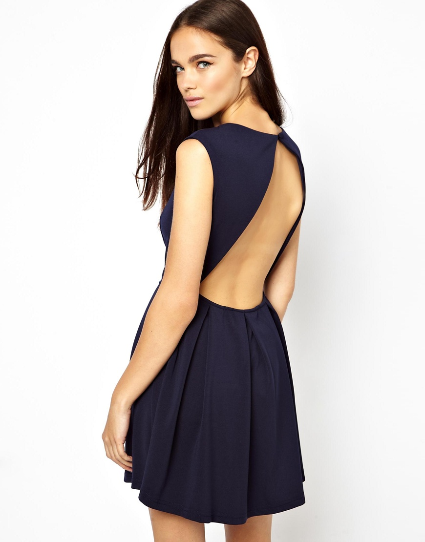 Glamorous Structured Skater Dress with Open Back in Blue | Lyst