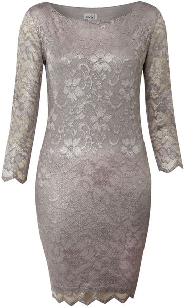 John Zack Long Sleeve Metallic Lace Dress in Gray (silver)