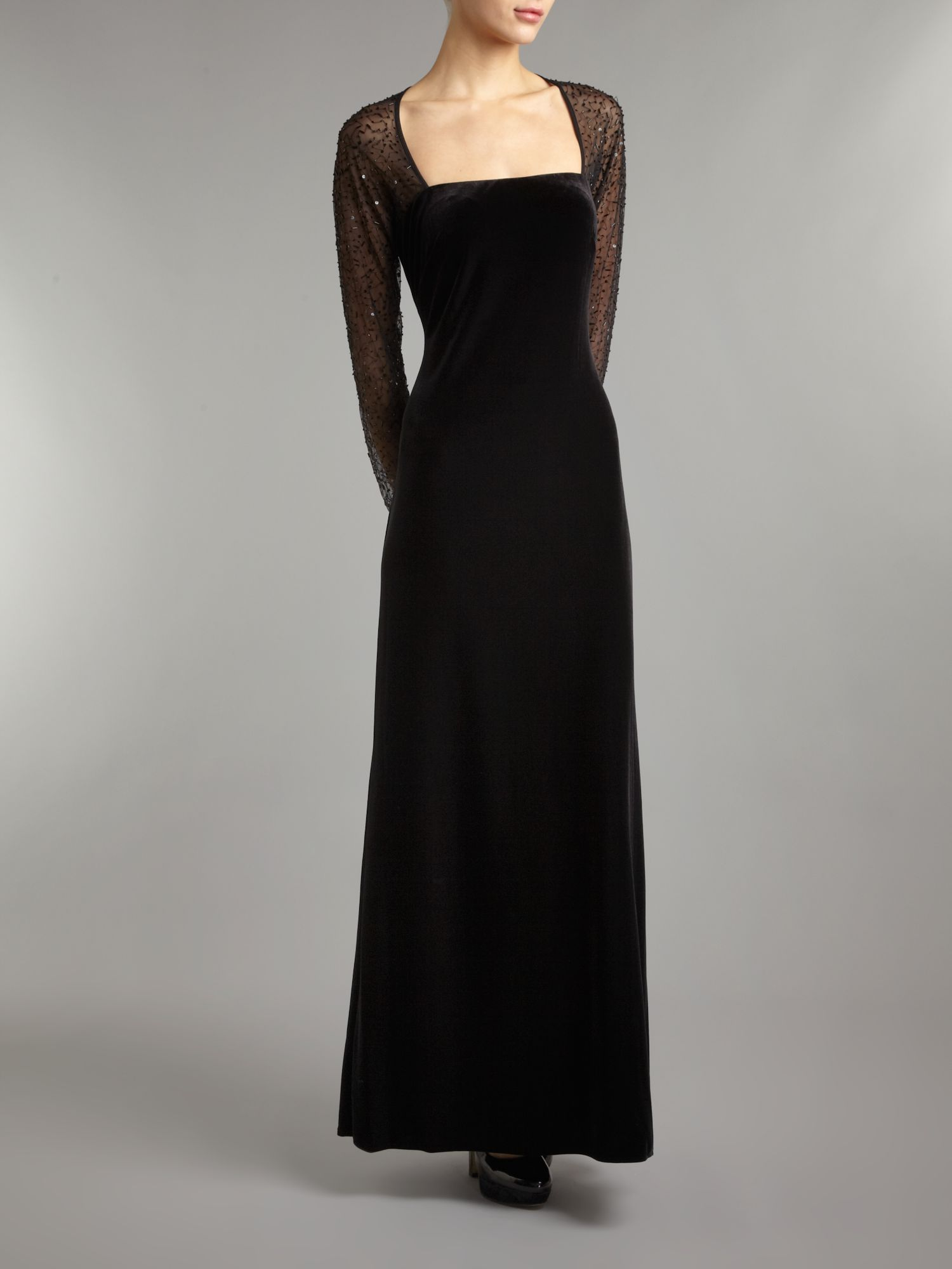 Js Collections Long Sleeve Velvet Beaded Mesh Maxi Dress