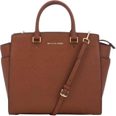 michael by michael kors selma large tote handbag in brown tan lyst. Black Bedroom Furniture Sets. Home Design Ideas