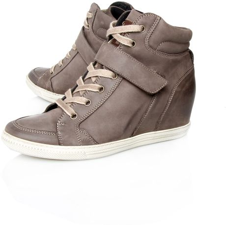 paul green penelope hitop wedge trainer shoes in gray