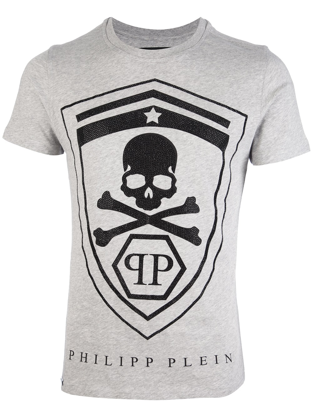 philipp plein skull print tshirt in gray for men lyst. Black Bedroom Furniture Sets. Home Design Ideas