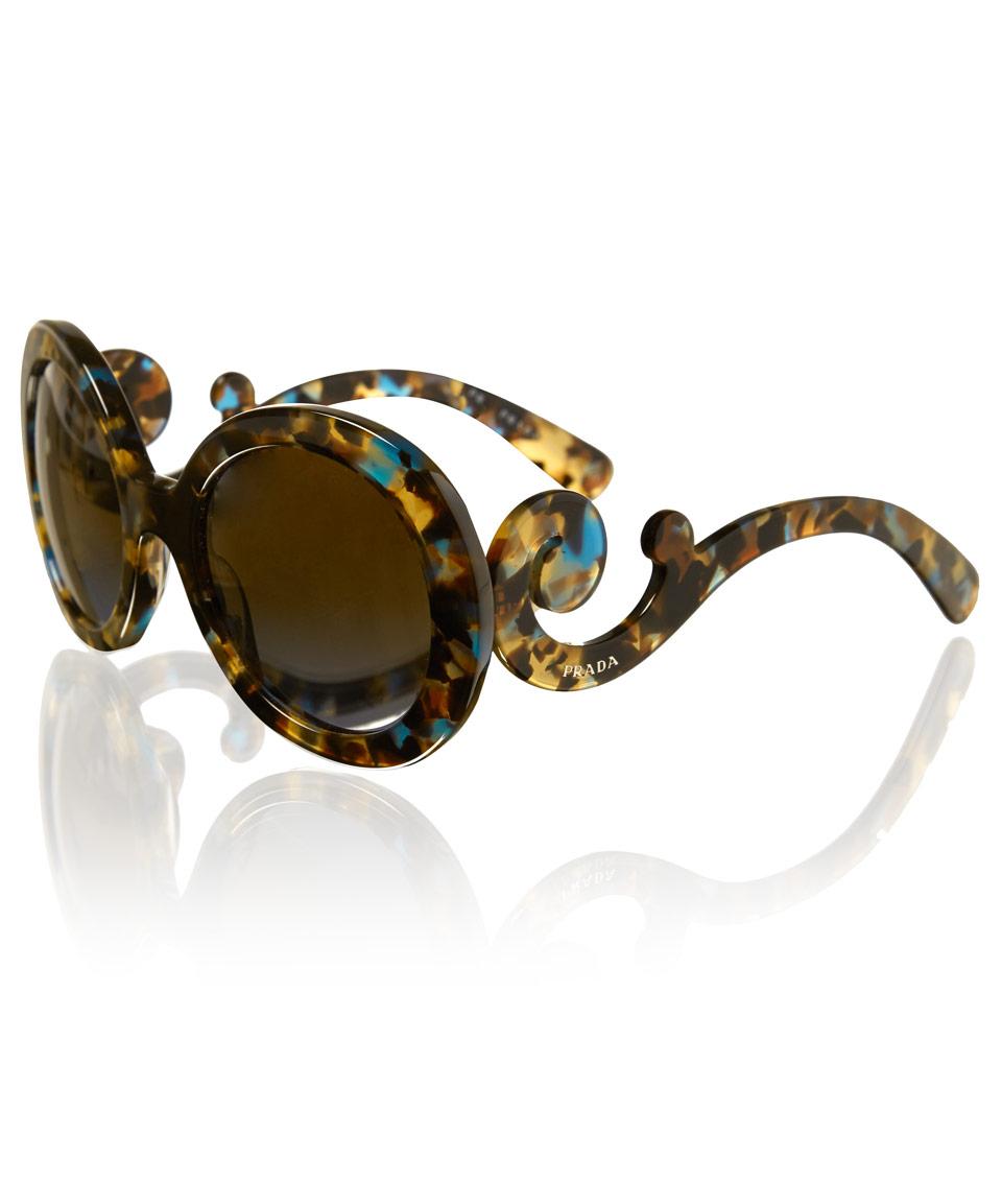 637f827ec2 ... best price lyst prada tortoiseshell minimal baroque round sunglasses in  brown 01c30 b54f3