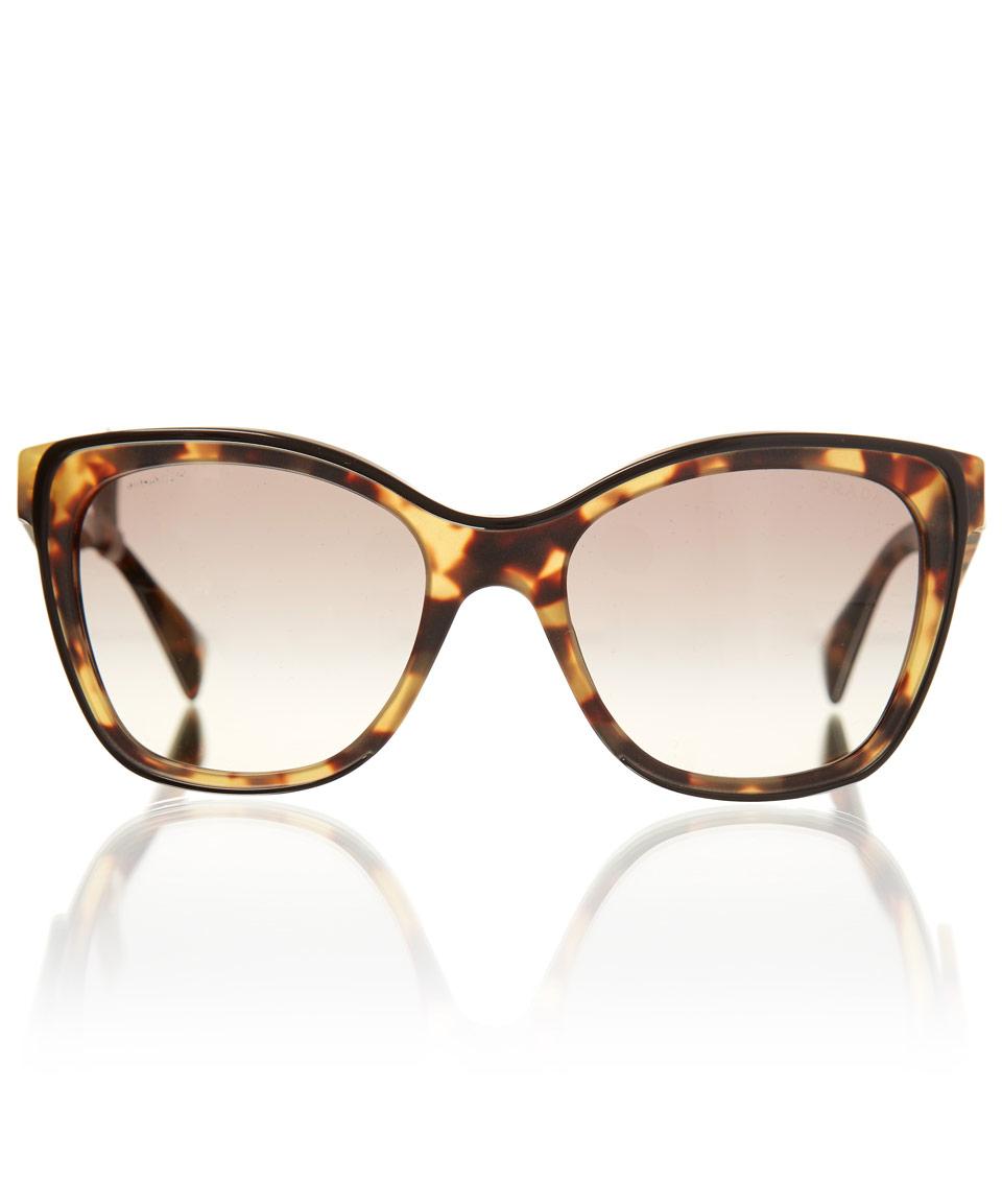 Prada Tortoiseshell Square Cat Eye Sunglasses in Animal  gold Prada Cat Eye Sunglasses 2013